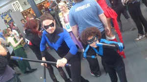 Jim's son Reeve as Nightwing with an adult Nightwing cosplayer i think you see which one is better!!